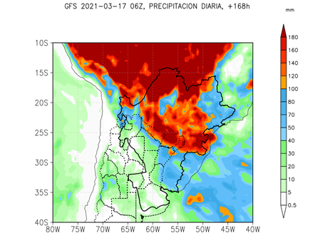 Rain forecast for the coming 7 days